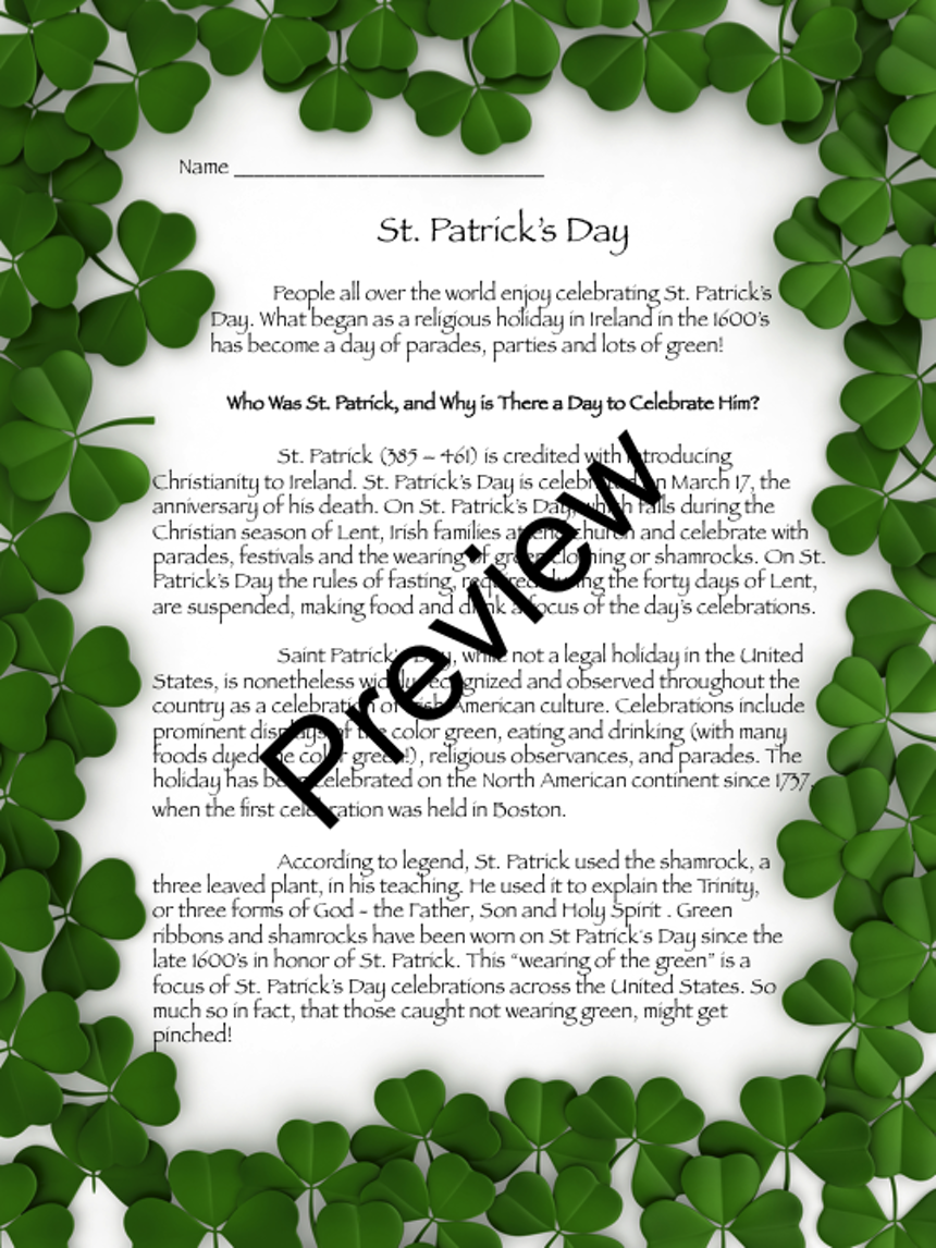 Uncategorized Legend Of The Shamrock st patricks day lessons from the classroom preview